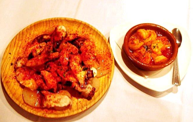 Pulpo A La Gallega & Shrimps in Garlic Sauce